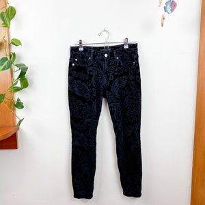 7 for All Mankind Velvet Paisley Skinny Jeans 26
